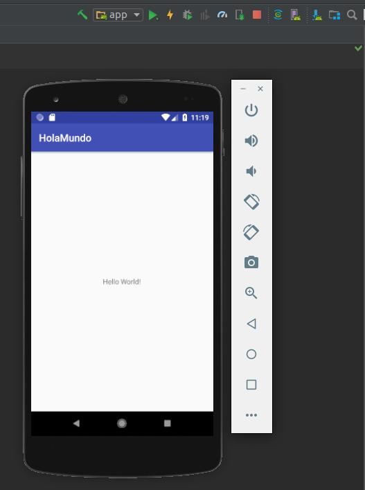 Pantalla Emulador Hola Mundo Android Studio